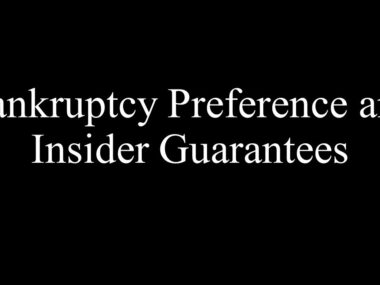 Bankruptcy Preference and Insider Guarantees